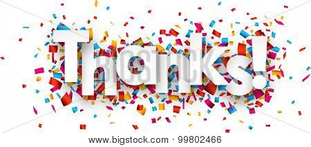 White thanks sign over confetti background. Vector holiday illustration.