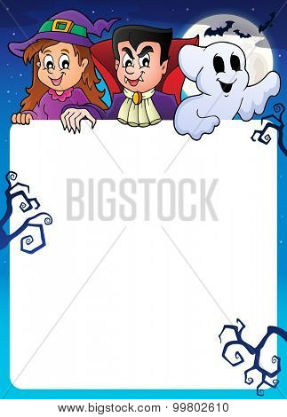 Frame with Halloween characters topic 1 - eps10 vector illustration.