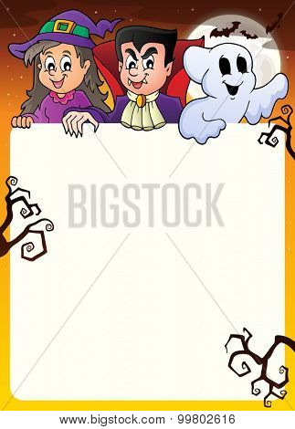 Frame with Halloween characters topic 2 - eps10 vector illustration.