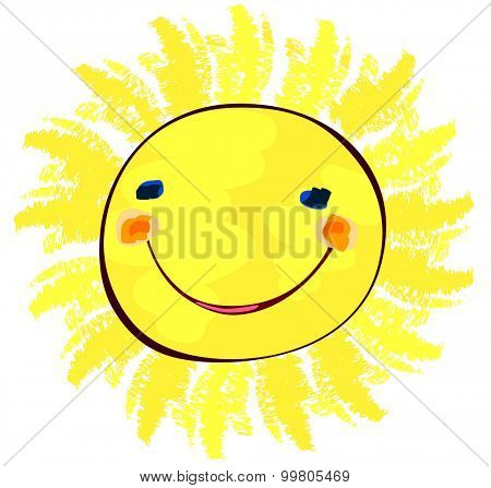happy sun on white, childlike painting