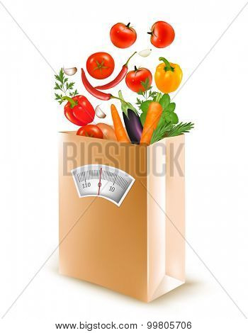 Shopping bag with healthy fruit and a scale. Concept of diet. Vector.