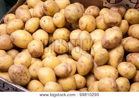 Fine potatoes at market stall