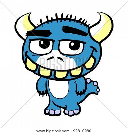 Cute little blue cartoon monster with fangs and horns