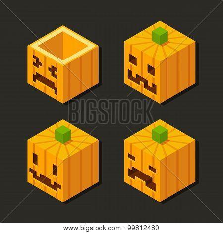 Isometric Halloween Pumpkins