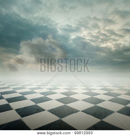 checkered floor landscape with cloudy sky