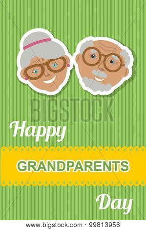 Happy Grandparents day card. Vector illustration of grandmother and grandfather smiling faces together.