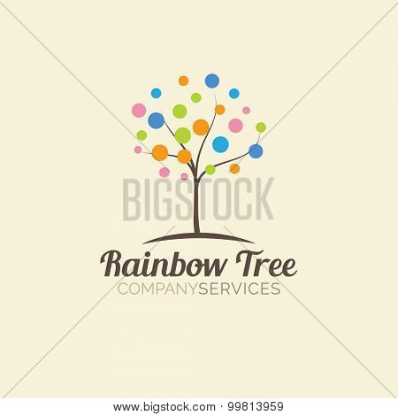 Abstract tree logo design template. Logotype icon. Vector design for beauty or yoga studio, wedding salon or photography studio