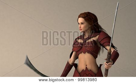 warrior girl with swods portrait