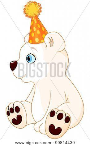 Illustration of polar bear celebrating