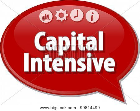 Speech bubble dialog illustration of business term saying Capital Intensive