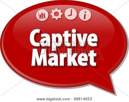 Speech bubble dialog illustration of business term saying Captive Market
