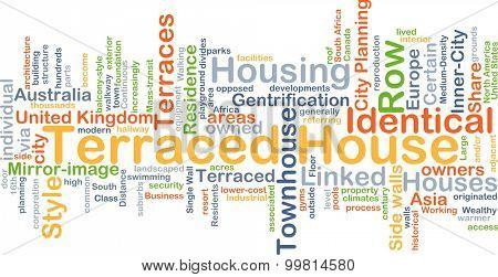 Background concept wordcloud illustration of terraced house