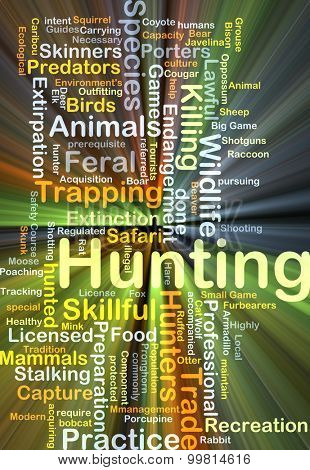 Background concept wordcloud illustration of hunting glowing light