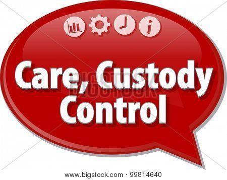 Speech bubble dialog illustration of business term saying Care Custody Control