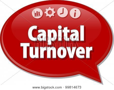 Speech bubble dialog illustration of business term saying Capital Turnover
