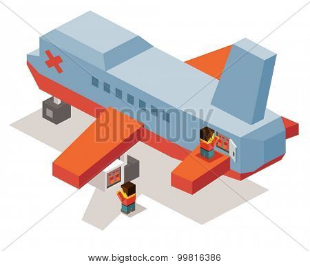 Airplane maintenance. isometric art