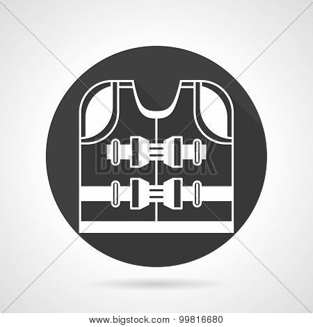 Life jacket black vector icon