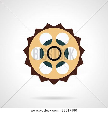 Bike sprocket vector icon flat style