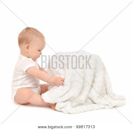 Infant Child Baby Toddler Sitting And Open Soft Blanket Towel