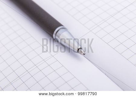Close-up of ballpoint Focus on tip.