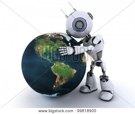 3D Render of an Robot with globe