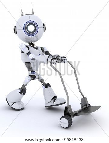 3D render of a Robot with a Delivery Trolly