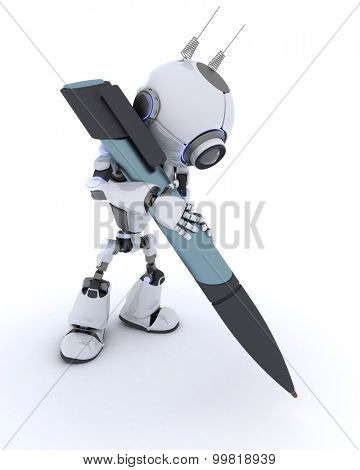 3D Render of an Robot writing with a pen