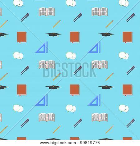Back To School Flat Design Modern Vector Illustration, Seamless Pattern, Pen, Pensil, Graduation Cap