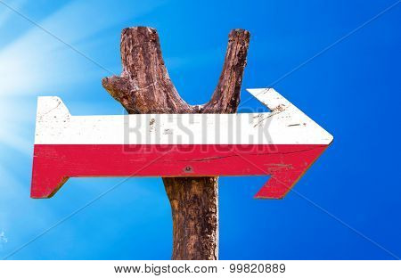 Poland Flag wooden sign with sky background