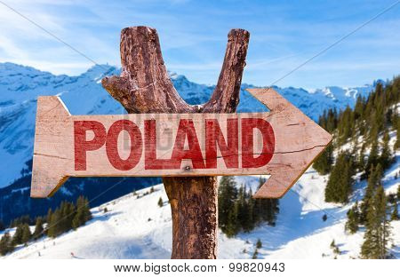 Poland wooden sign with winter background