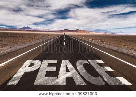 Peace written on desert road
