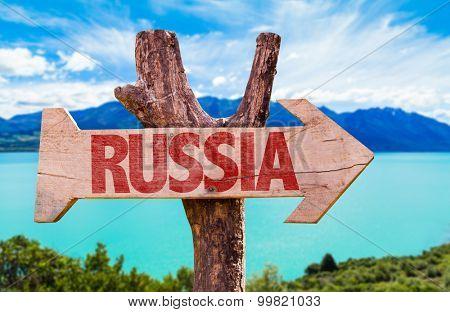 Russia wooden sign with lake background