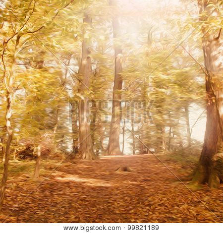 Forest in autumn time - fall season - picture in vintage style with oil paint filter