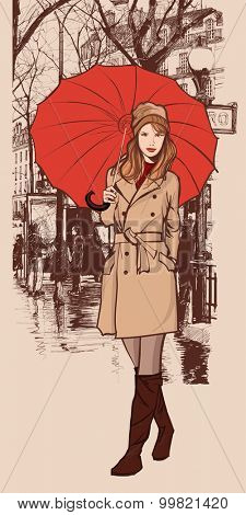 Woman with a red umbrella smiling in a street of Paris - vector illustration