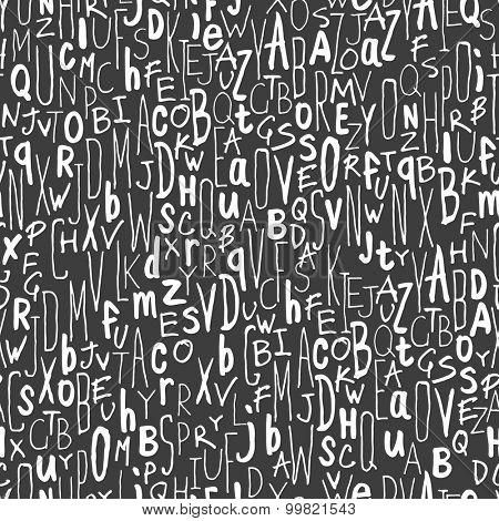 Hand-drawn Alphabet Seamless Pattern