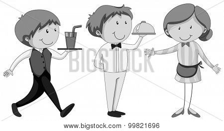 Male and female waiters serving illustration