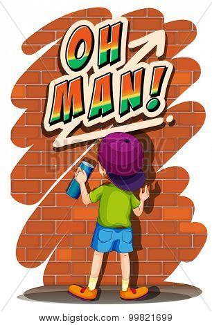 Boy spraying on the wall illustration