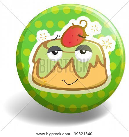 Custard cake on badge illustration