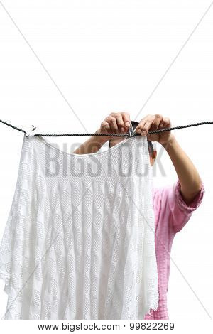 Housework Woman Hand Hanging Clean Wet Laundry To Dry Clothes Isolated