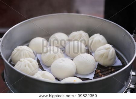 Steamed Chinese Buns In Silver Steamer