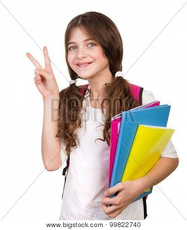 Portrait of cute schoolgirl with bag and books in hands isolated on white background, gesturing good mood by hand, back to school