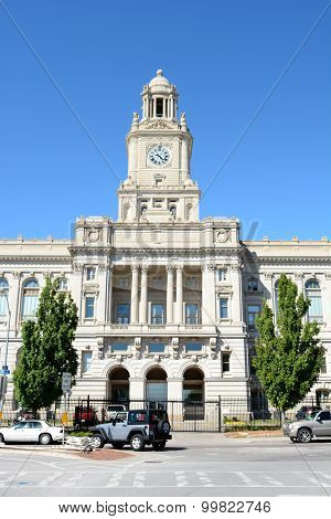 DES MOINES, IOWA - AUGUST 19, 2015: Polk County Courthouse. Built in 1906, it is listed on the National Register of Historic Places as a part of the County Courthouses in Iowa Thematic Resource.