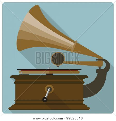 Retro vintage gramophone vector icon. Flat design vector icon of vintage turntable.