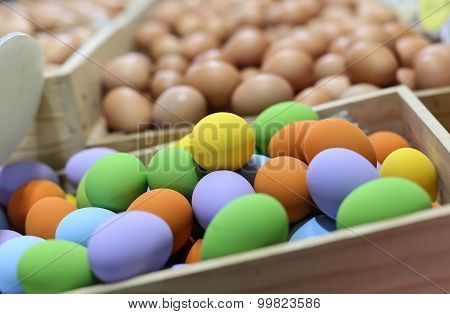 Colorful Easter Eggs In The Wooden Box