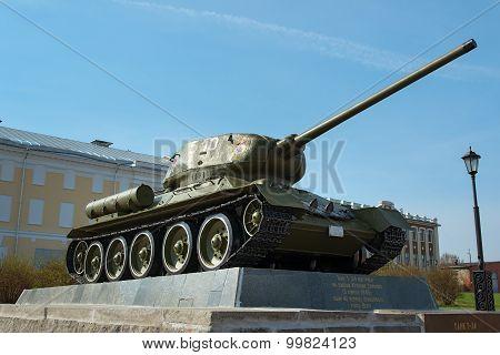 Tank T-34 In The Territory Of The Nizhny Novgorod Kremlin