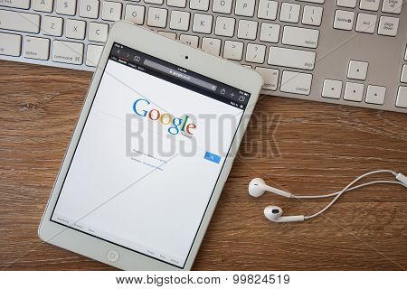 CHIANGMAI THAILAND -February 8 2014: Google is an American multinational corporation specializing in Internet-related services and products. Most of its profits are derived from AdWords.