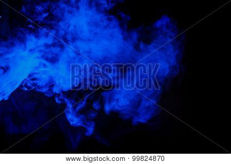 Abstract Blue Smoke Hookah On A Black Background.