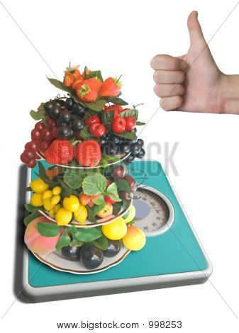 Vase With Fruits On Weigh-Scale