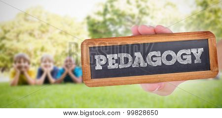 The word pedagogy and hand showing chalkboard against happy friends in the park