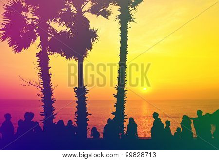 Silhouette Vintage People With Color Of The Sunset
